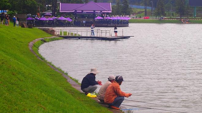 Câu cá bên bờ hồ Xuân Hương, thú vui thi vị của mùa mưa Đà Lạt. Ảnh: Đà Lạt
